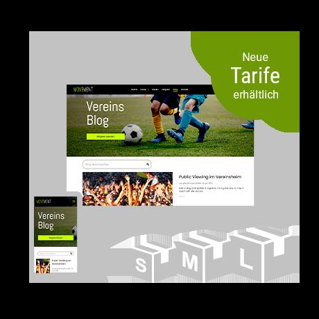Mit dem Baukasten erstellte Homepage in Desktop und mobiler Ansicht