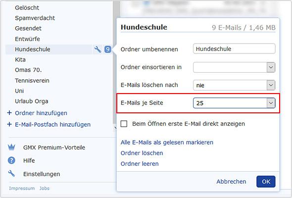 """Im Feld """"E-Mails je Seite"""" können Sie die gewünschte Anzahl der E-Mails wählen."""