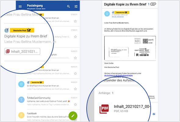 """""""Digitale Kopie"""": Links in der E-Mail-Liste, rechts die geöffnete E-Mail mit PDF-Anhang."""