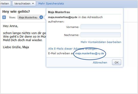 Blanko-Antwort: Einfach die E-Mail-Adresse im Adressfenster (blau markiert) anklicken
