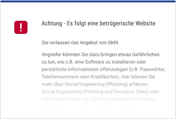 Warnhinweis beim Besuch einer gefährlichen Webseite.