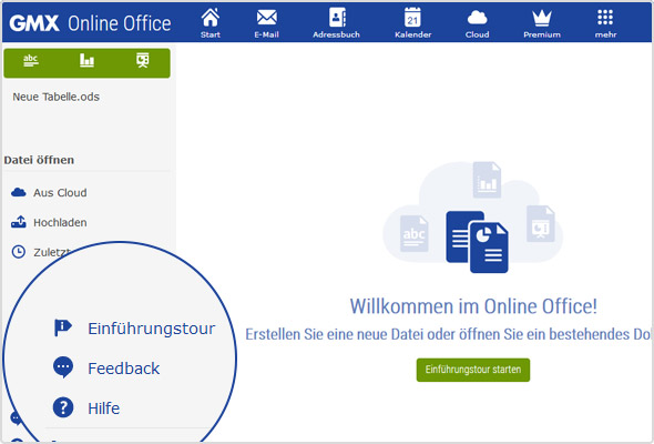 Willkommen im Online Office: Hier können Sie die Einführungstour starten