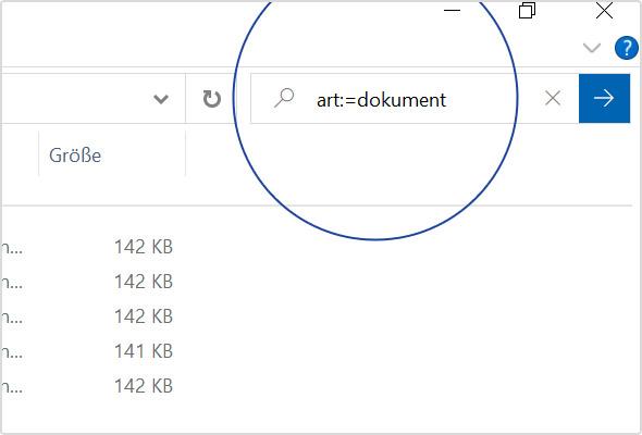 Ihr Suchfilter erscheint mit Doppelpunkt im Suchfeld Ihres Windows Explorers.