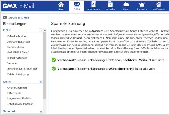"""Über die Einstellungen und den Menüpunkt """"Sicherheit"""" > """"Spam-Erkennung"""" können Sie die verbesserte Spam-Erkennung aktivieren."""