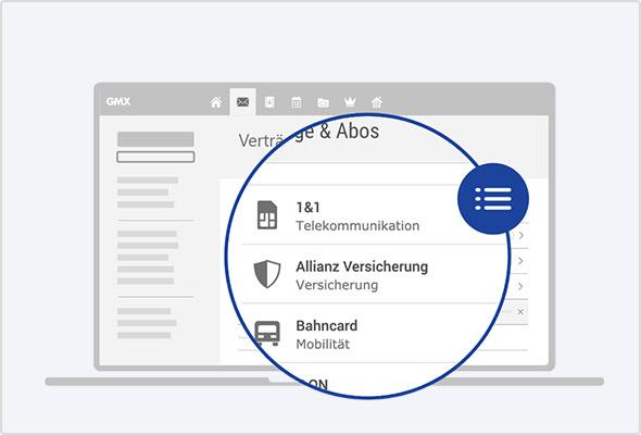 """Alle Vertrags-E-Mails im Blick: Mit der neuen Kategorie """"Verträge & Abos""""."""