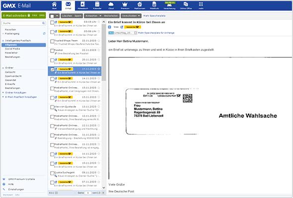 So sieht die Briefankündigung in Ihrem Postfach aus: Links die Ankündigungs-Mails mit dem gelben Deutsche-Post-Logo, rechts der gescannte Briefumschlag.