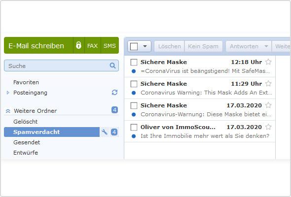 """Beispiele für """"Corona-Phishing-Mails"""" aus dem GMX Spamverdacht-Ordner"""