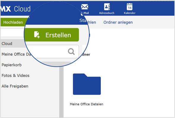 """Über den """"Erstellen""""-Button können Sie jetzt direkt in der Cloud neue Dateien erstellen."""
