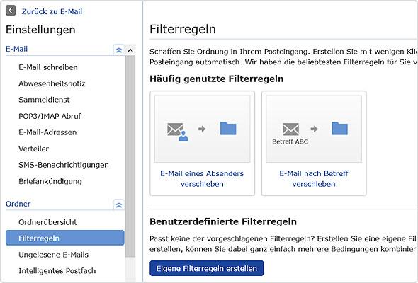 Einstellungen zu den Filterregeln im GMX Postfach.