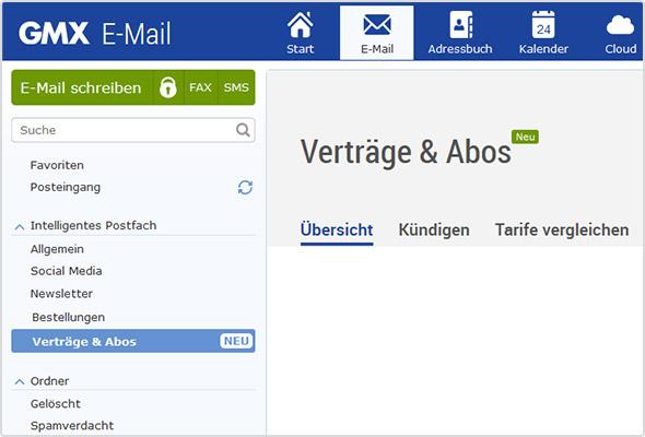 """E-Mail-Kategorie """"Verträge & Abos"""": mit praktischen Zusatzfunktionen."""