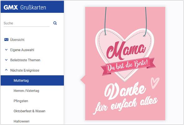 Digitale Grußkarte zum Muttertag im GMX Postfach