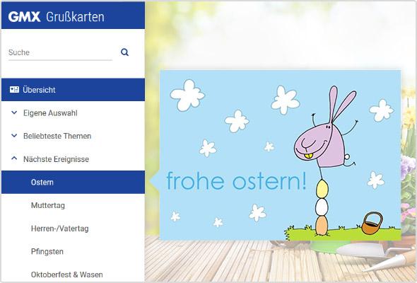 Digitale Ostergrußkarte im GMX Postfach