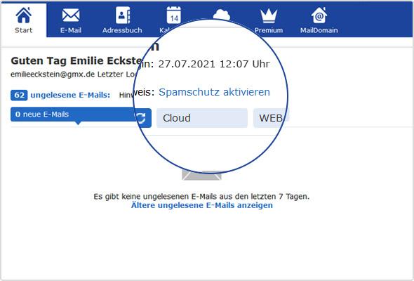 Spamschutz-Link auf der GMX Postfachstartseite.
