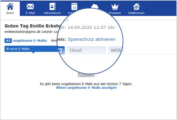 Spamschutz-Link auf der GMX Postfachstartseite