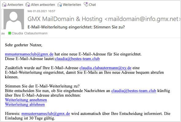 Beispiel: So sieht eine E-Mail zur Bestätigung einer Weiterleitung aus.