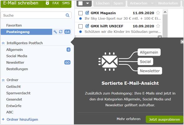 """Unter dem Menüpunkt """"Intelligentes Postfach"""" finden Sie die drei neuen E-Mail-Kategorien"""