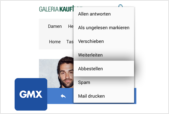 Praktisch: Abbestellen-Option in der GMX Android App