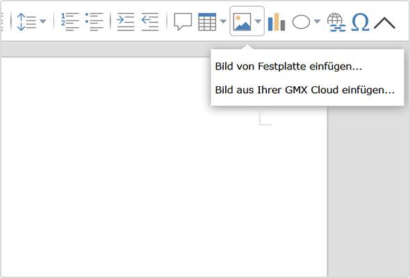Bild aus der GMX Cloud einfügen