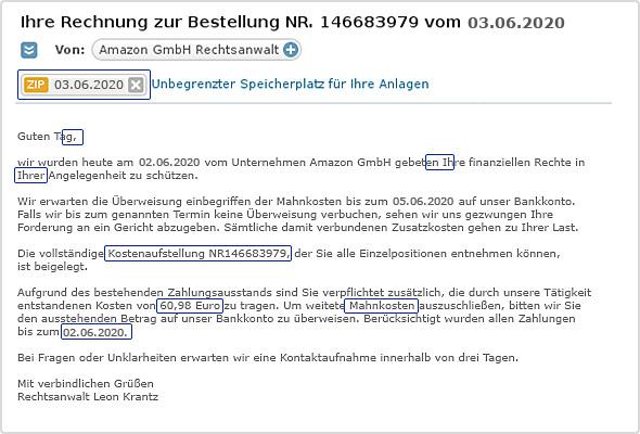 """Phishing-Beispiel """"Gefälschte Rechnung"""""""