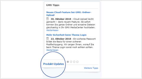 Im Tipp-Widget: Der Link zu den Produkt-Updates