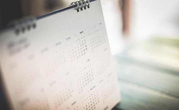 Blurred image of standing desk calendar