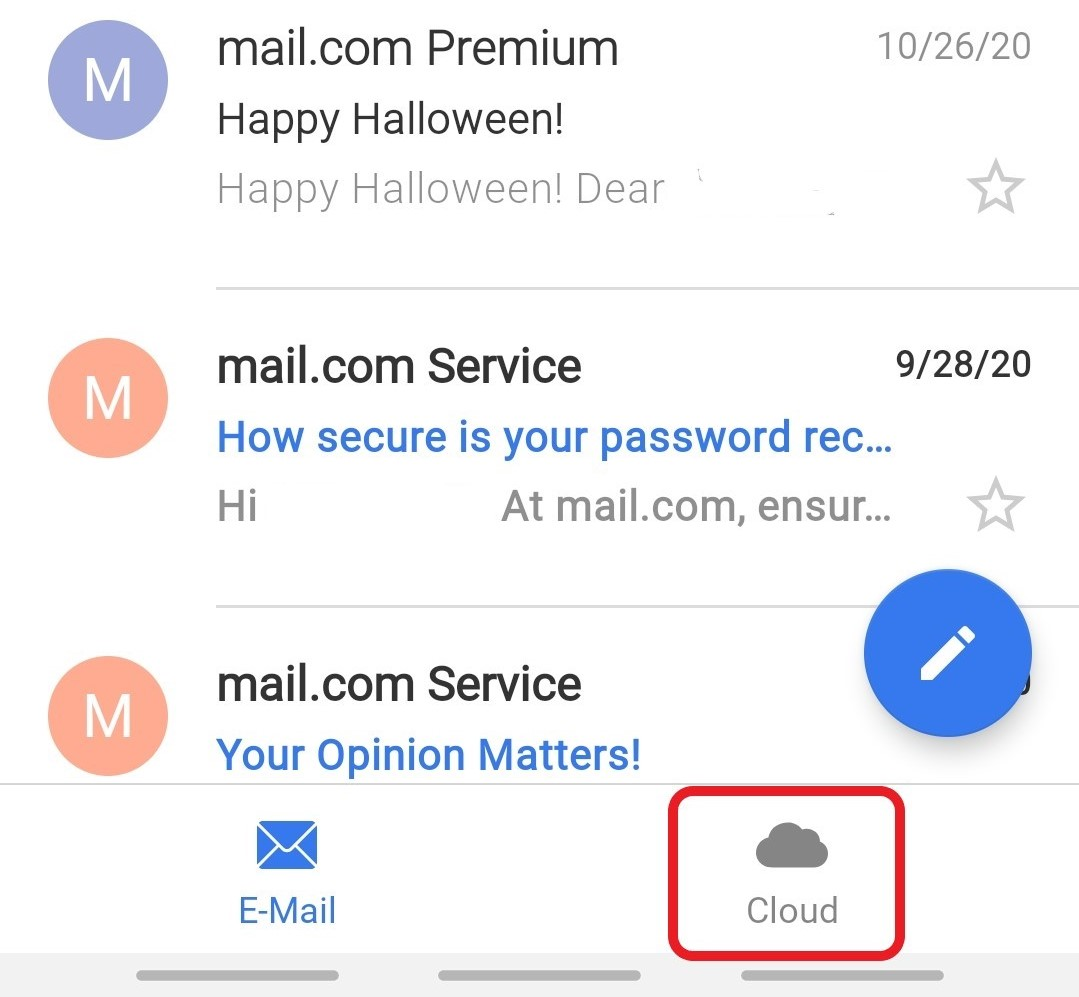 Screenshot of Cloud tab in Mail App for Android
