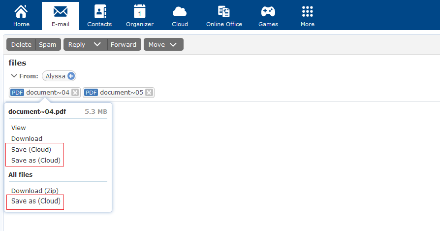 Screenshot showing how to save an attachment to the mail.com Cloud