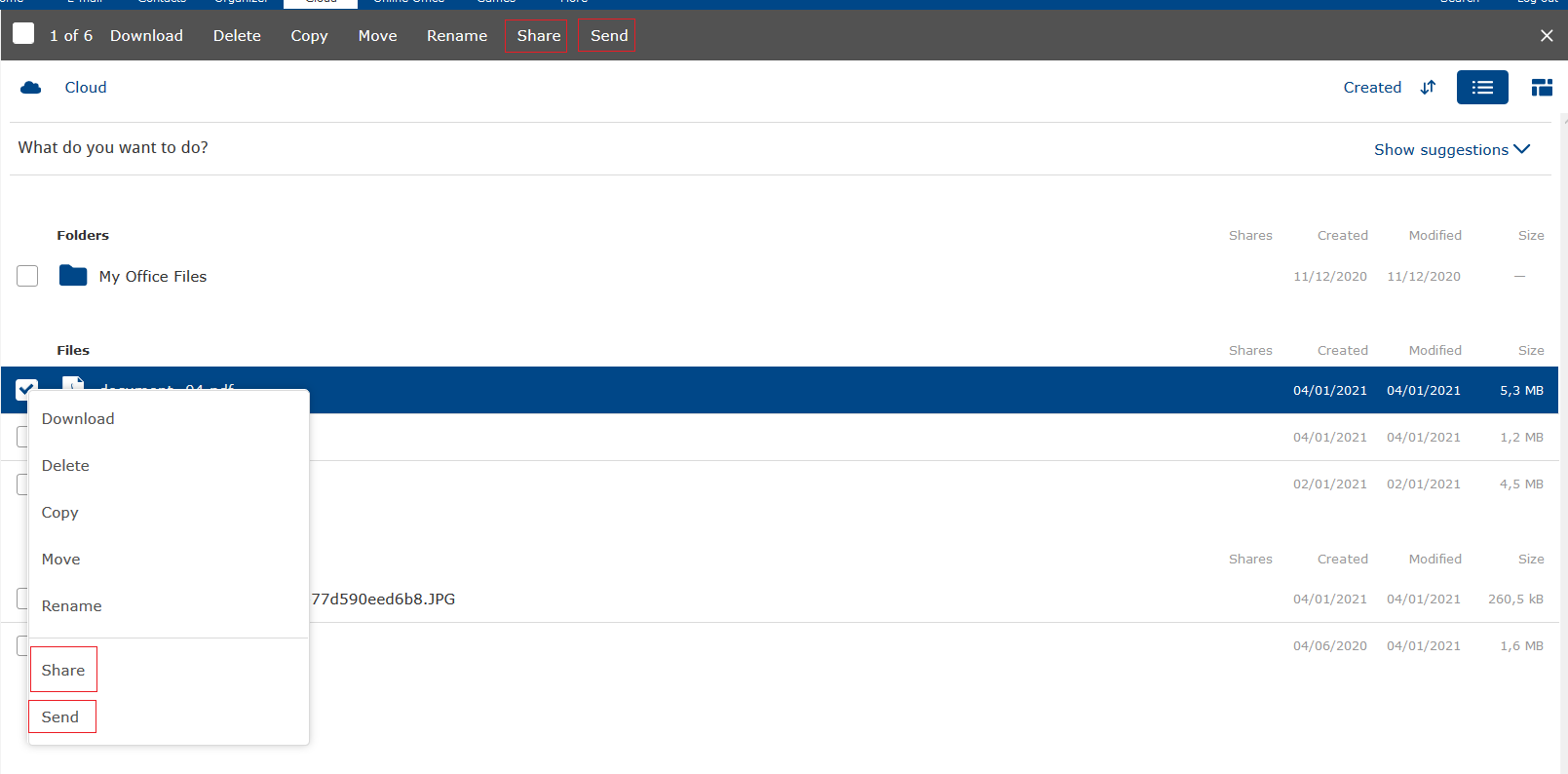 Screenshot of mail.com Cloud showing how to share files as email attachments or send a file-sharing link