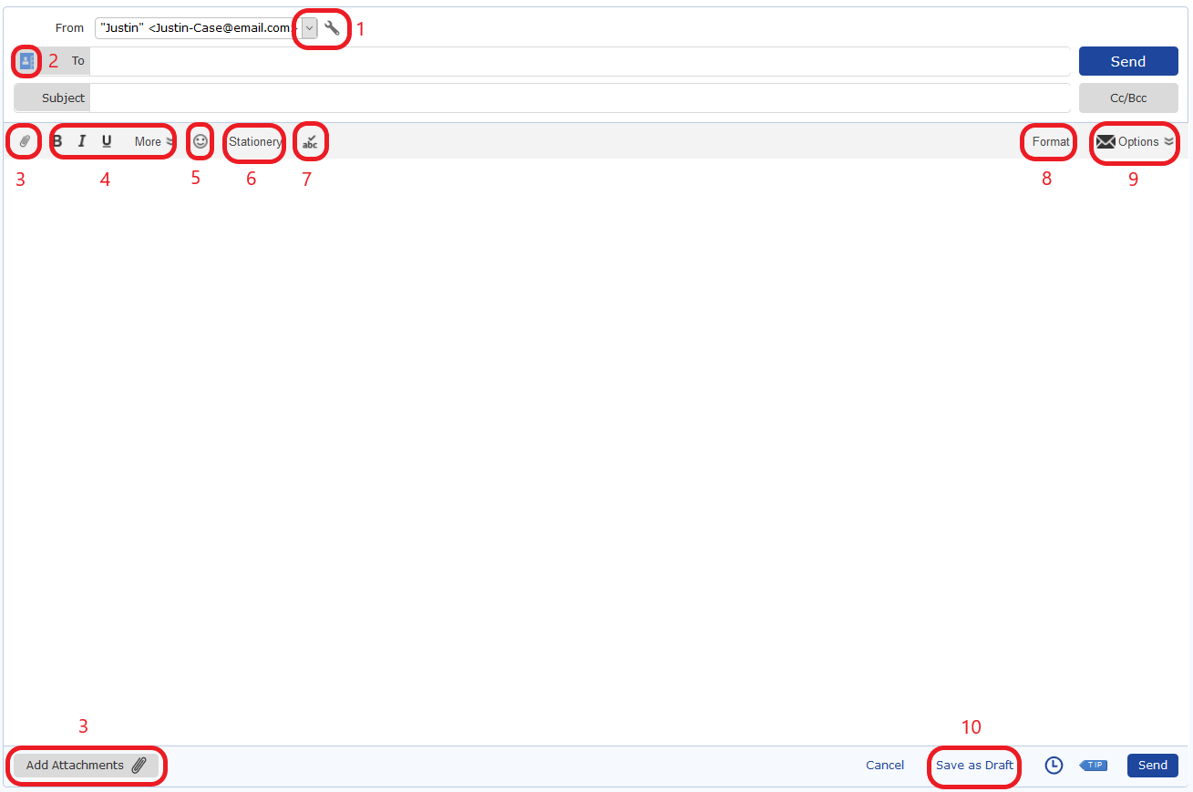 Screenshot of the Compose E-mail window with 10 functions circled and numbered