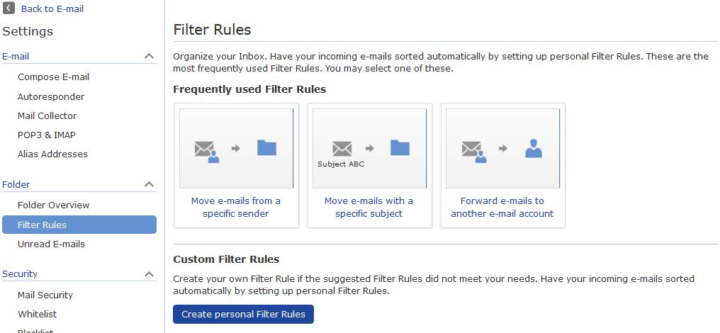 screenshot of menu to create email filters in mail.com inbox