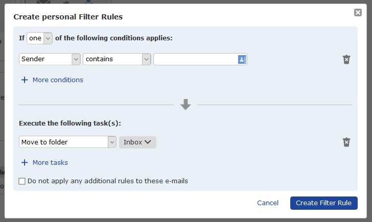 screenshot showing options for customizing email filters
