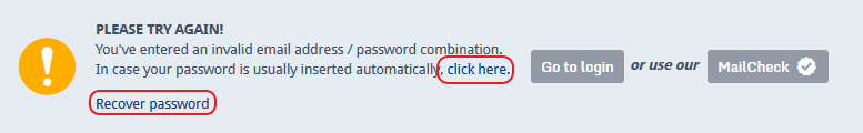 Screenshot of mail.com password recovery options