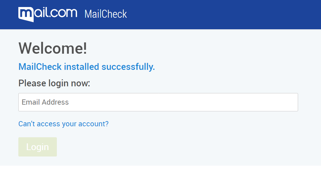 Screenshot of MailCheck login