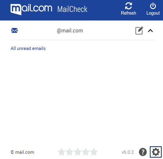 Screenshot of MailCheck settings