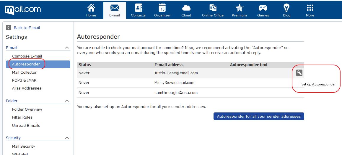 Screenshot of Autoresponder window in mail.com E-mail Settings