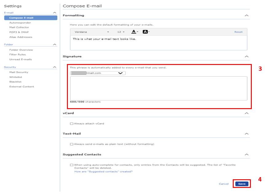 Screenshot of mail.com email settings