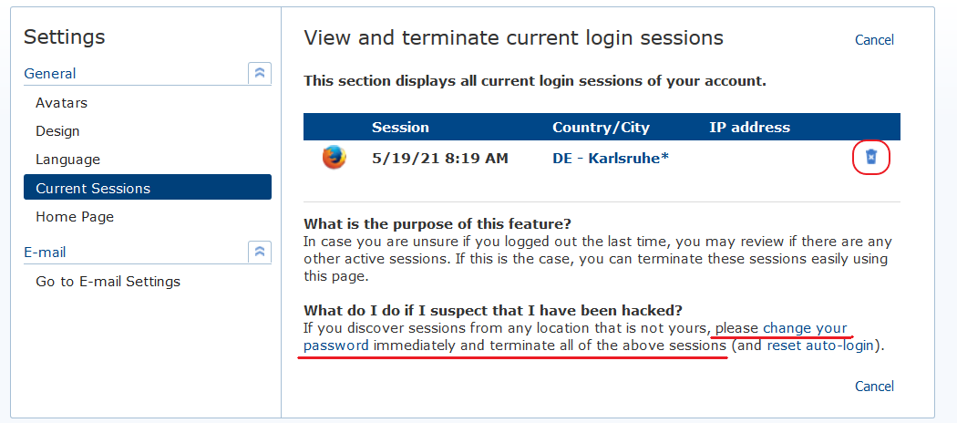 Screenshot of Manage Sessions window in mail.com mailbox