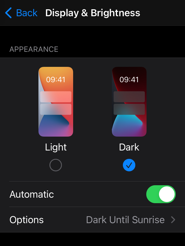 Screenshot showing display and brightness settings on iPhone
