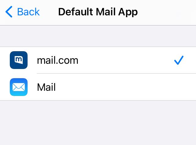 Screenshot of default email app settings in iPhone
