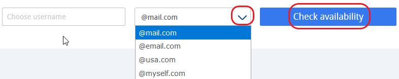 Screenshot of mail.com domain chooser