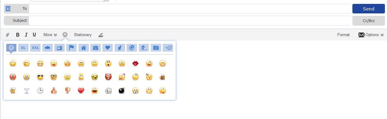 Screenshot of Compose Email window in mail.com with Smileys option