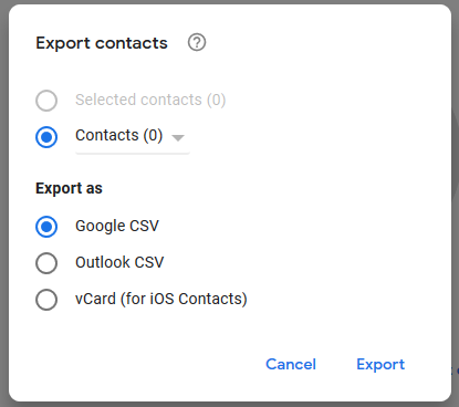 Screenshot of export contacts option in Gmail