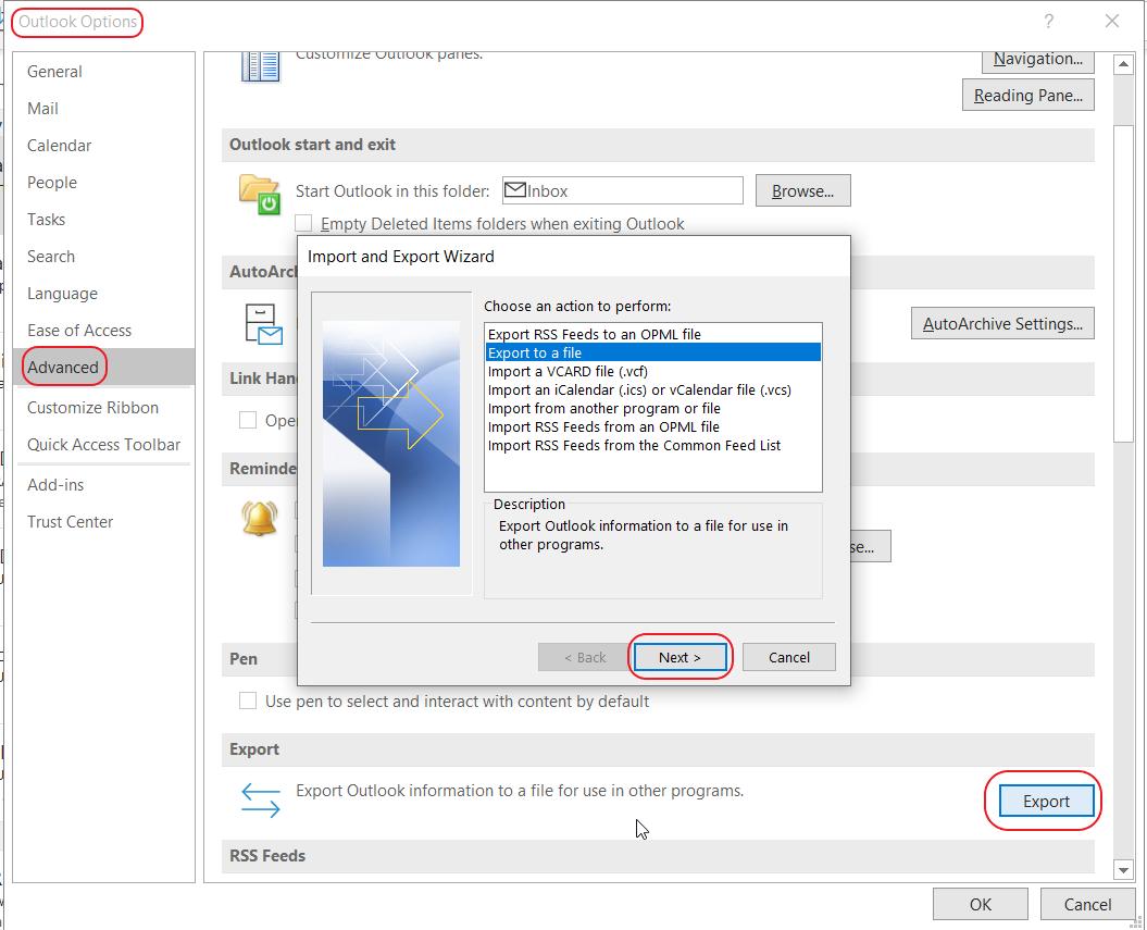 Screenshot of export contacts option in MS Outlook
