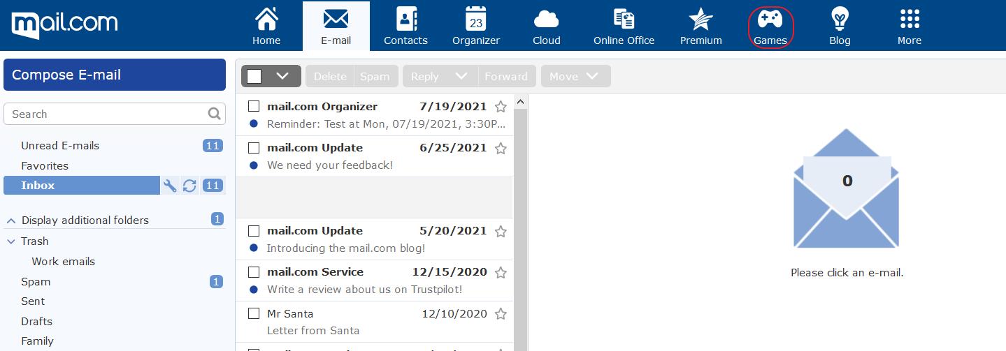 Screenshot of mail.com inbox showing new Games tab in navigation bar