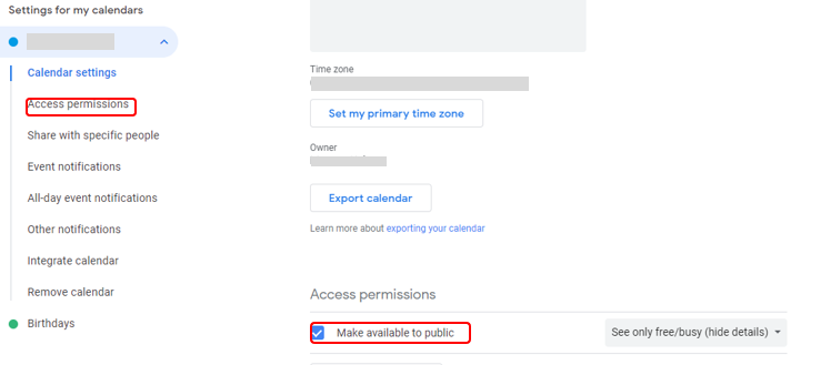 Screenshot of Google calendar settings to make calendar public