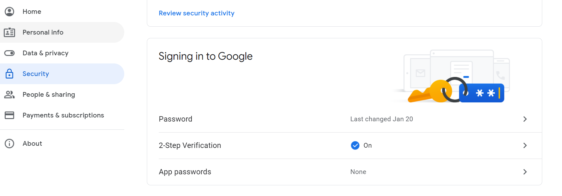 Screenshot of Google email Security settings with 2-step verification turned on