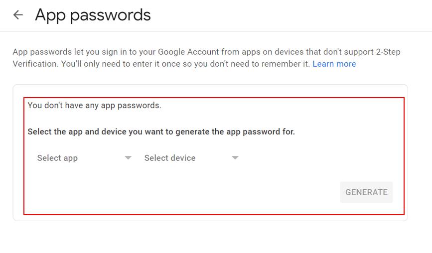 Screenshot of Google App passwords menu