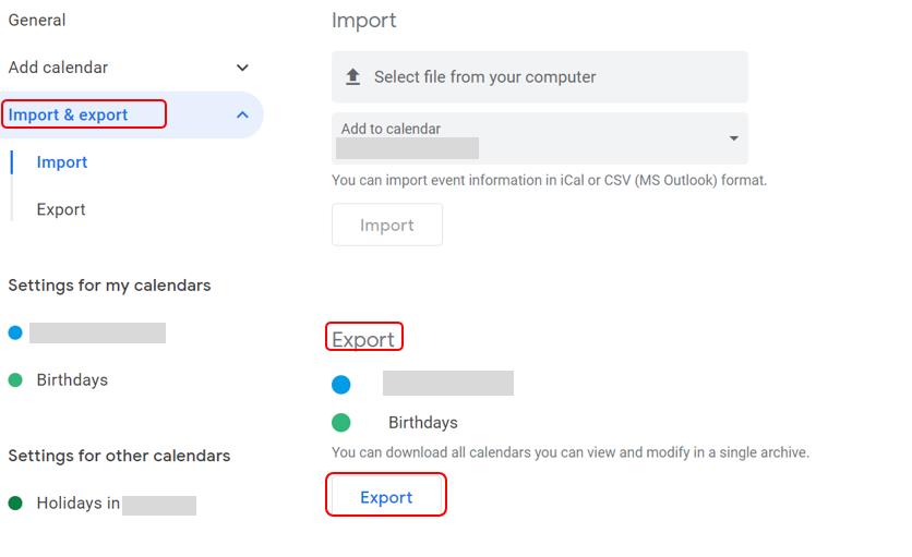 Screenshot of export calendar function in Google
