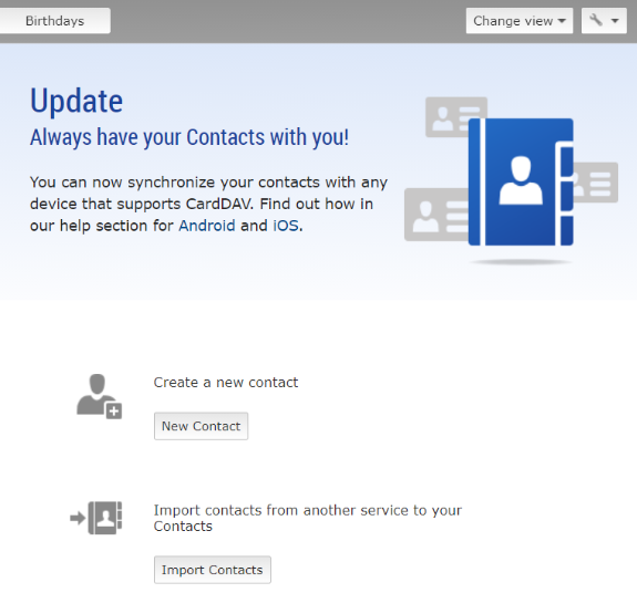Screenshot of import contact settings in mail.com email