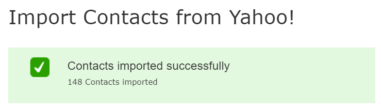Screenshot of import Yahoo contacts option in mail.com email